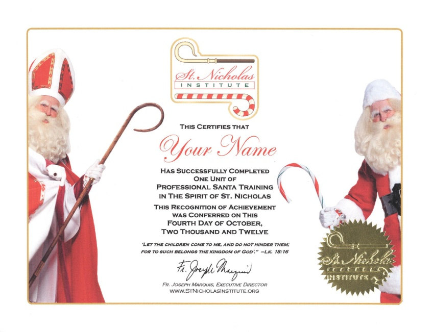 St. Nicholas Institute Certificate Of Achievement (Distinct Design For Each  Year Attended)